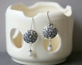 Oxidized Hammered and Pearl Earrings