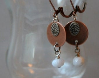 Copper and Blue Lace Agate Earrings