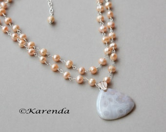 Sand and Sun Peach Pearl Two Strand Gemstone Pendant Necklace, Pearl Necklace, Multi-Strand Necklace, Summer Jewelry