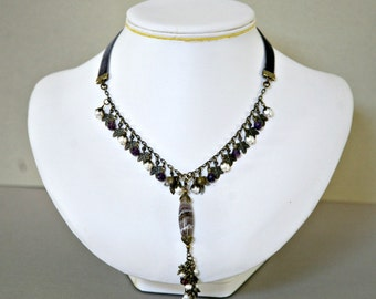 February Birthstone Purple Lace Agate and Amethyst Metal Draped Necklace with Velvet Ribbon Cord