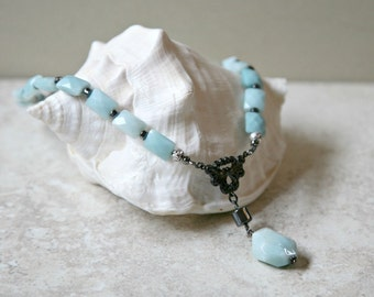 Faceted Amazonite, Hematite and Gunmetal Ocean Blue Necklace