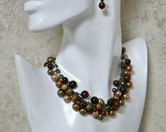 Burgundy, Gold, Tan, Olive and Cherry Red Pearl Choker Style Necklace FREE Matching Earrings. Pearl Cluster Necklace, Necklace Set