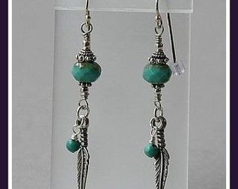Sterling Silver Turquoise Feather Earrings
