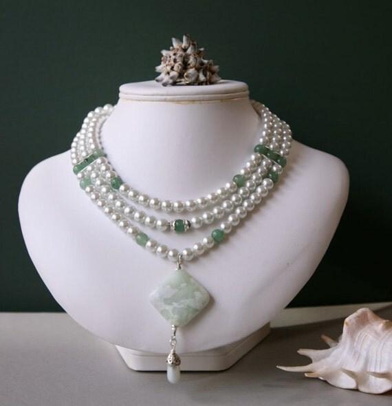 Jasper and Pearl Three Strand Pendant Necklace