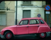 Pink Citroen Car, Paris - Shocking pink car parked in a paris street old buildings europe vacation vintage autos great gift home decor 10x8 inch Photograph Signed