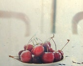 Table for Two - 8x8 inch Art Photograph Signed Red Cherries on White Linen