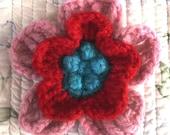 Felted Crochet Flower Pin
