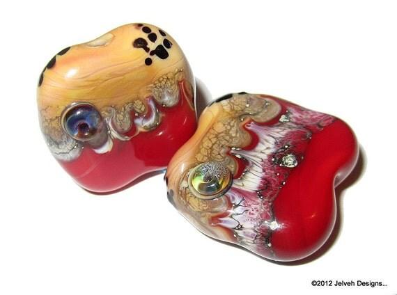 Red Mars Landscape, Handmade Lampwork Glass Beads, focal pair...
