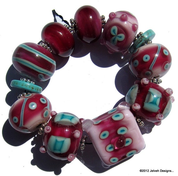 Retro Bohemian Raspberry Pink, Handmade Lampwork Glass Beads