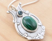 SALE - Spoon Pendant with Malachite and Green Tourmaline - Handmade Upcycled Sterling Silver