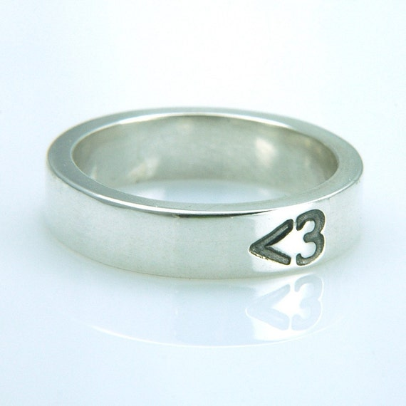 Less Than Three Ring,  Handmade Sterling Silver Unisex - RESERVED