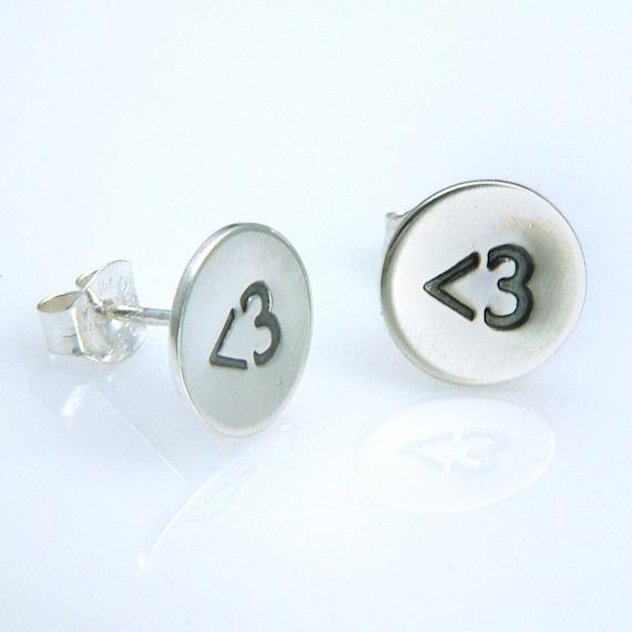 Less Than Three Stud Earrings,  Handmade Sterling Silver
