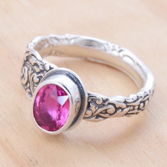 Spoon Ring with Pink Tourmaline, Upcycled Sterling Silver, Size 6