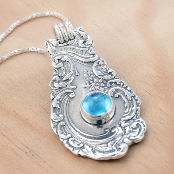 Spoon Pendant with Blue Topaz - Handmade Upcycled Sterling Silver