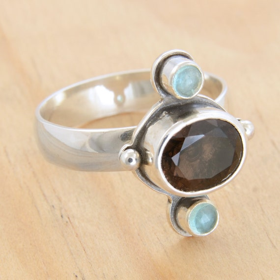 SALE - Chunky Medieval Ring with Smoky Quartz and Apatite - Handmade Sterling SIlver, Size 7