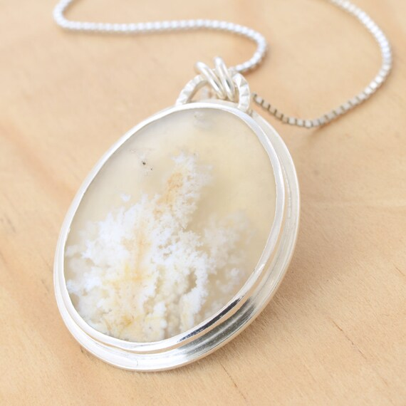 Agate Plume Pendant, Handmade Sterling Silver