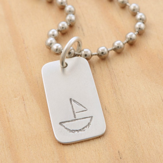 SALE - Boat Design on Unisex Dogtag Sterling Silver Charm Pendant