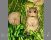 Tiny Mouse Miniature Art by Melody Lea Lamb ACEO  Print