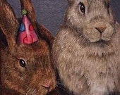 2nd in a Triptych Bunny Rabbit Miniature Art by Melody Lea Lamb ACEO Giclee Print