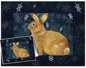 Set of Three Different Bunny Greeting Cards Melody Lea Lamb Christmas