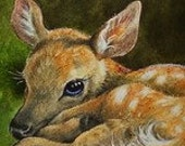 Baby Deer Giclee Bookmark from Original Art  Melody Lea Lamb