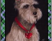 Set of Four Schnauzer Dog Greeting Cards from Original Art