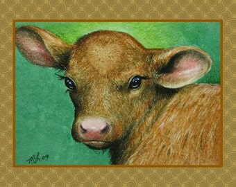 Cow Valentines Day Card from Original Art by Melody Lea Lamb