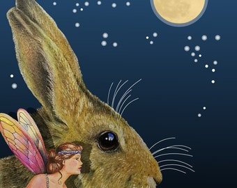 Fantasy Fairy Bunny Note Card from Original Art by Melody Lea Lamb
