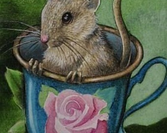 Teacup Mouse Miniature Art by Melody Lea Lamb ACEO Giclee Print