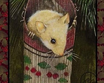 Single Christmas Card from Original Mouse Art by Melody Lea Lamb