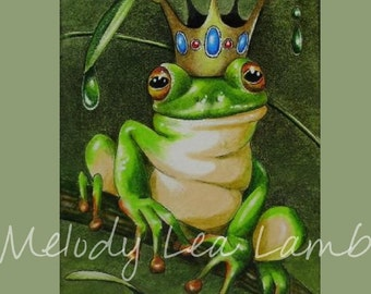 Frog Prince Three Miniature Art Melody Lea Lamb ACEO Giclee Print