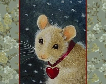 Valentine's Day Card Cute Mouse by Melody Lea Lamb