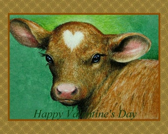 Valentine's Day Card Baby Cow Art by Melody Lea Lamb