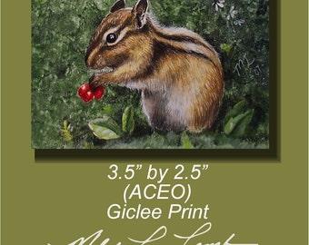 Chipmunk Miniature Art by Melody Lea Lamb ACEO Print