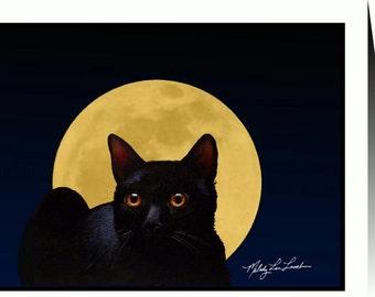 Black Cat Greeting Card by Melody Lea Lamb