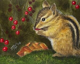 Fall Chipmunk Miniature Art by Melody Lea Lamb ACEO Print