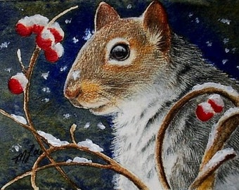 Winter Squirrel Miniature Art by Melody Lea Lamb ACEO Print