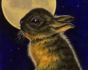 Fall Bunny Full Moon Miniature Art by Melody Lea Lamb ACEO Giclee Print