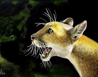 Big Cat Lion Miniature Art by Melody Lea Lamb ACEO Print