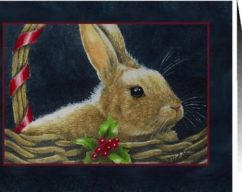 Set Of Four Holiday Bunny Greeting Cards by Melody Lea Lamb