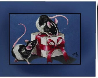 Christmas Mice Cards Set of 20 Art by Melody Lea Lamb