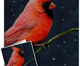 Cardinal Bird Art Greeting Card by Melody Lea Lamb