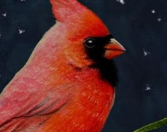 Set Of Four Cardinal Bird Art Cards by Melody Lea Lamb