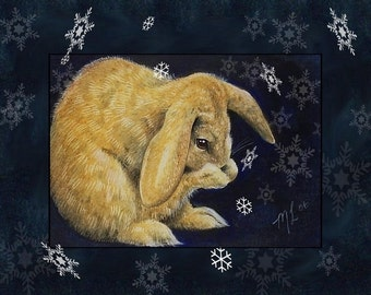 Snow Bunny-One Set of Cards Melody Lea Lamb Christmas Greetings
