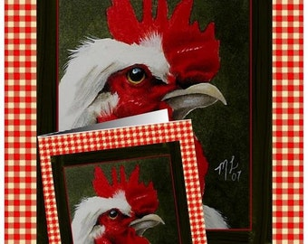 Set Of Four Country Rooster Greeting Card Art by Melody Lea Lamb