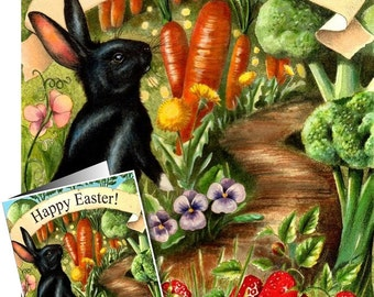 Black Easter Bunny Card by Melody Lea Lamb