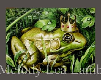 Frog Prince Miniature Art by Melody Lea Lamb ACEO Print