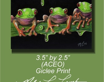ACEO OE Giclee Print Tree Frogs Melody Lea Lamb