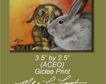 Kitten and Bunny ACEO Giclee Print Melody Lea Lamb