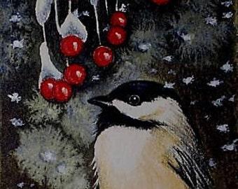 Chickadee and Berries Bird Art Melody Lea Lamb ACEO Print #26